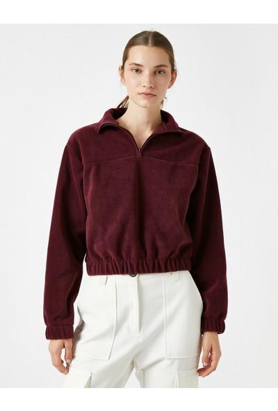 Koton Kadın Dik Yaka Fermuarlı Polar Sweatshirt