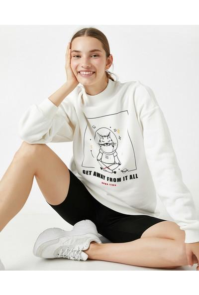 Koton Kadın Dik Yaka Hayvan Baskılı Sweatshirt