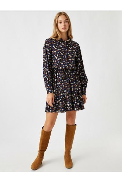 Koton Kadın Gömlek Yaka Çiçek Desenli Kısa Elbise