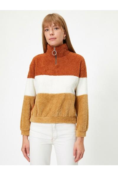 Koton Kadın Uzun Kollu Balıkçı Yaka Fermuarlı Havlu Sweatshirt