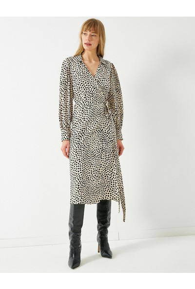 Koton Kadın Uzun Kollu Beli Bağlamalı Puantiyeli Elbise