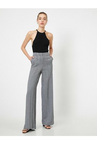 Koton Kadın Yüksek Bel Cep Detaylı Genis Paça Pantolon