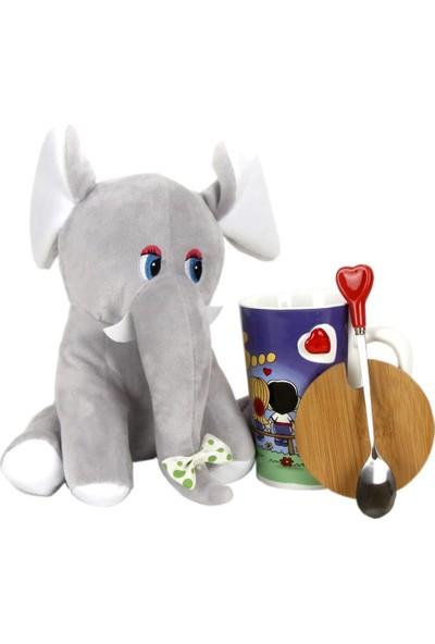 Hediyekanalı Love Is Tasarımlı Kapaklı Kupa Gri Fil Peluş 25 cm Hediye Paketi