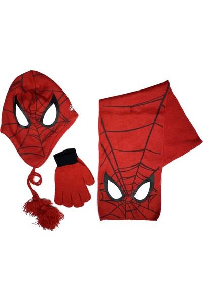 Disney Spiderman Erkek Çocuk Atkı Bere Eldiven Takımı 3-8 Yaş