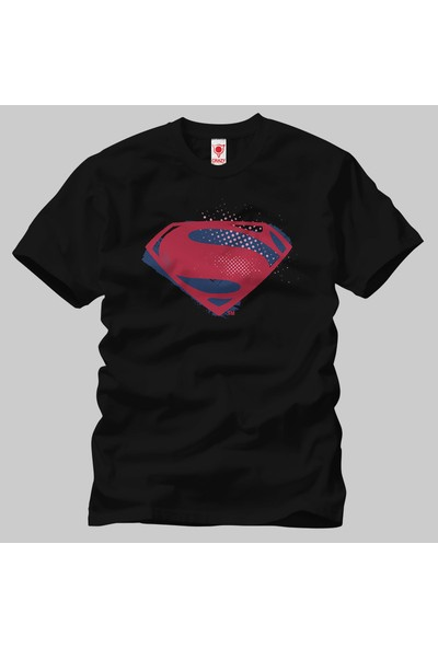 Crazy Justice League Superman Symbol Brush Halftone Erkek Tişört