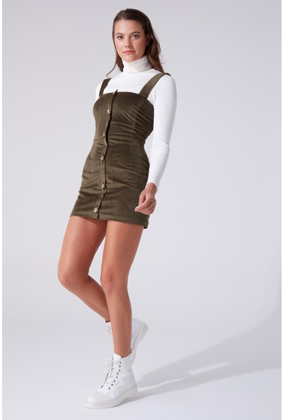 Berfuğ Kıran Önü Düğmeli Askılı Mini Elbise