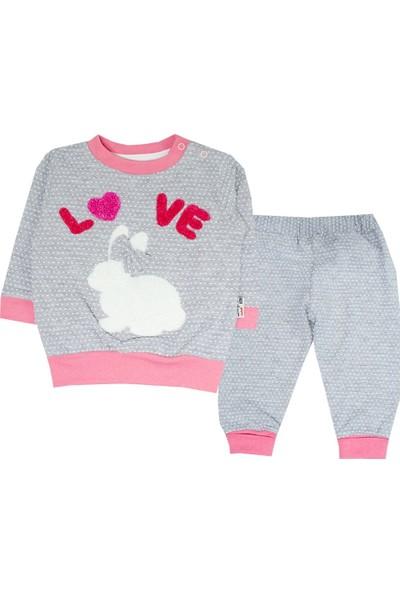 Beyaz Bebek Loveli Tavşanlı Takım-Somon