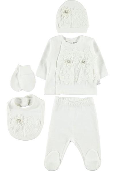 Civil Baby Kız Bebek 5'li Zıbın Takımı 0-3 Ay Ekru