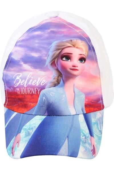 Frozen Kız Çocuk Şapka 4-8 Yaş Beyaz