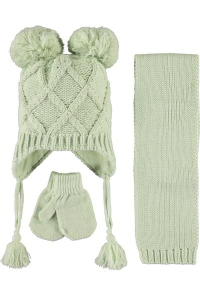 Kitti Kız Çocuk Atkı Bere Eldiven Seti 1-4 Yaş Mint Yeşili