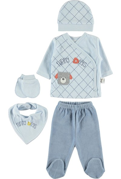 Civil Baby Erkek Bebek 5'li Zıbın Takımı Yenidoğan Mavi