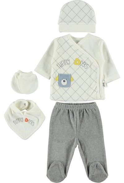 Civil Baby Erkek Bebek 5'li Zıbın Takımı Yenidoğan Ekru