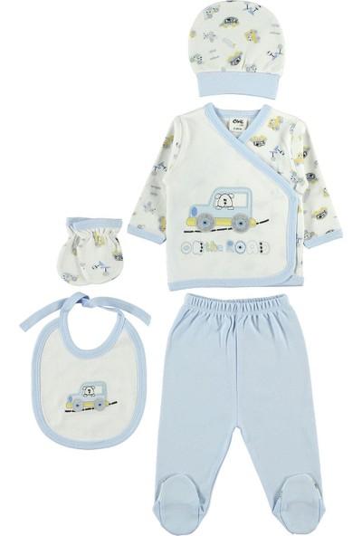 Civil Baby Erkek Bebek 5'li Zıbın Takımı Yenidoğan Takımları Mavi