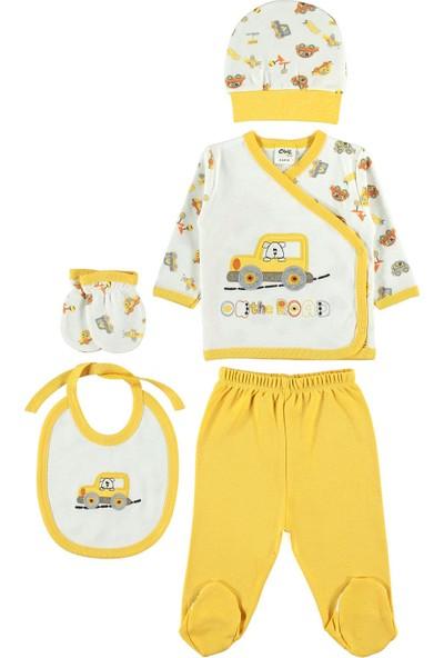 Civil Baby Erkek Bebek 5'li Zıbın Takımı Yenidoğan Takımları Sarı