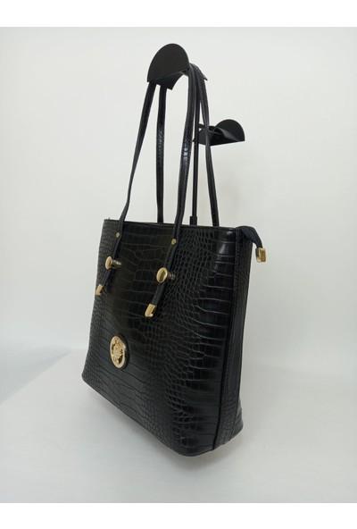 Harvey Mi̇ller Polo Club Harvey Miller Polo Clup Siyah Kroko Kadın Omuz Çanta