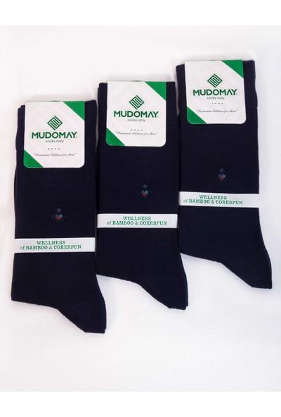 Mudomay 6'lı Bambu Corespun Mevsimlik Lacivert Erkek Çorap