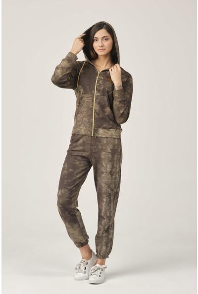 Moda Trendi Kapşonlu Baskılı Kamuflaj Batik Kadın Eşofman Takımı