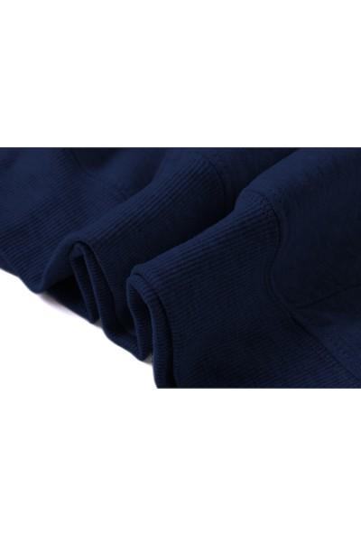 Tshirthane The Witcher Signs Dikey Baskılı İndigo Mavi Lacivert Erkek Örme Sweatshirt Uzun kol