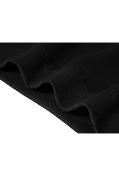 Tshirthane La Linea Trt Cizgi Adam Accident Baskılı Siyah Erkek Örme Sweatshirt Uzun kol