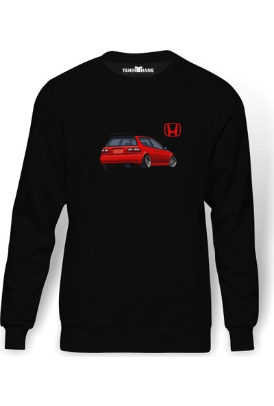 Tshirthane Honda Civic EG Baskılı Siyah Erkek Örme Sweatshirt Uzun kol