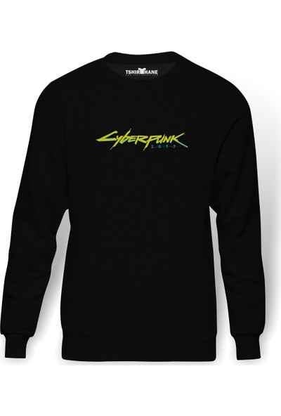 Tshirthane Cyberpunk Baskılı Siyah Erkek Örme Sweatshirt Uzun kol