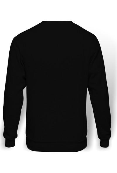 Tshirthane Kel Kartal Kuşu Kanatları Parçacıklar Baskılı Siyah Erkek Örme Sweatshirt Uzun kol