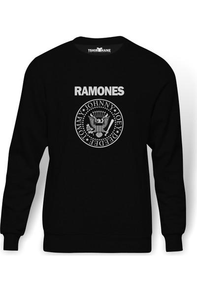 Tshirthane Ramones Baskılı Siyah Erkek Örme Sweatshirt Uzun kol
