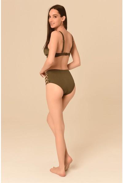 Aquaviva Kadın Haki Biye Detaylı Yüksek Bel Şık Bikini Takımı