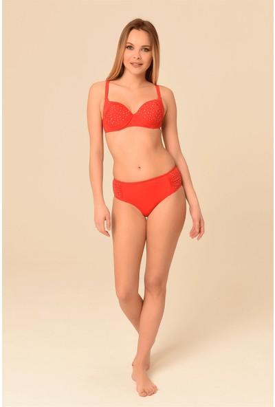Aquaviva Kadın Kırmızı Ayar Askılı Taş Detaylı Bikini Takımı