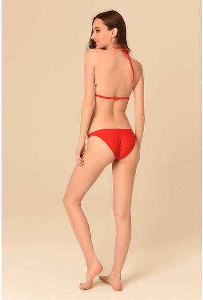 Aquaviva Kadın Kırmızı Üçgen Biye Detaylı Bikini Takımı