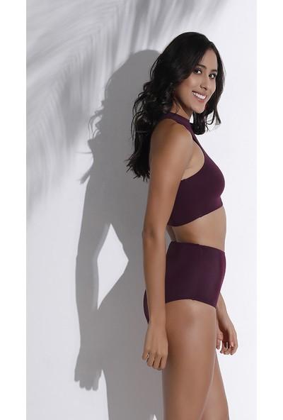 Aquaviva Kadın Mürdüm Halter Bikini Takımı