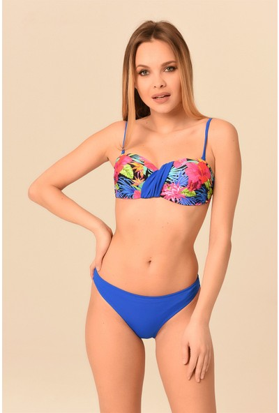 Aquaviva Kadın Tropikal Desenli Straplez Push - Up'lı Bikini Takımı