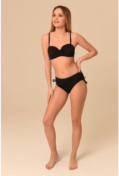Aquaviva Kadın Siyah Straplez Dolgulu Sürgülü Bikini Takımı