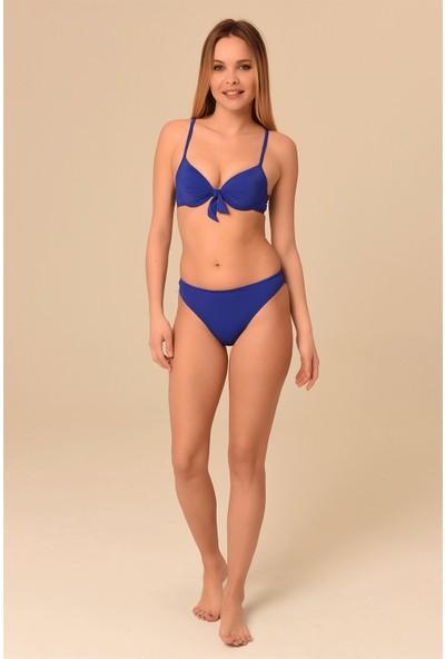 Aquaviva Kadın Koyu Saks Fiyonklu Dolgulu Bikini Takımı