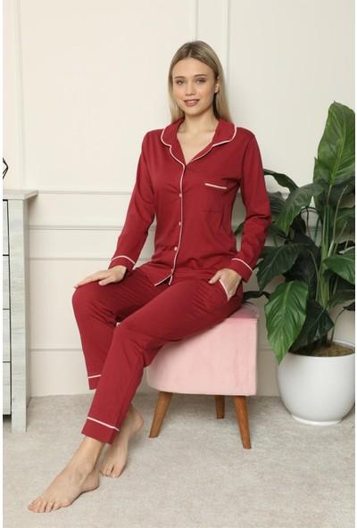 Akbeniz Kadın %100 Pamuk Penye Önden Düğmeli Uzun Kol Pijama Takım 2716