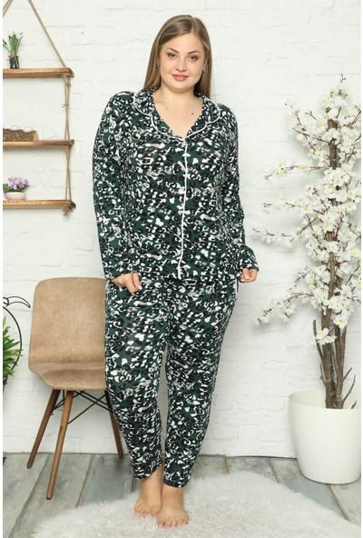 Akbeniz Kadın Pamuklu Cepli Uzun Kol Büyük Beden Pijama Takım 202046