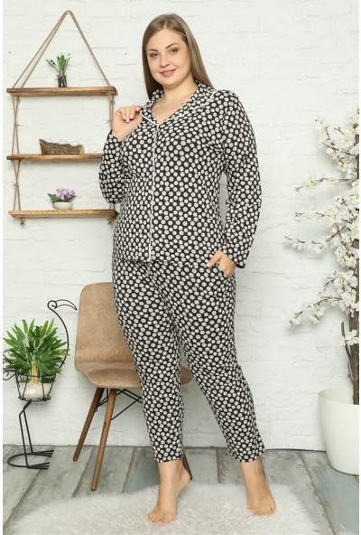 Akbeniz Kadın Pamuklu Cepli Uzun Kol Büyük Beden Pijama Takım 202045
