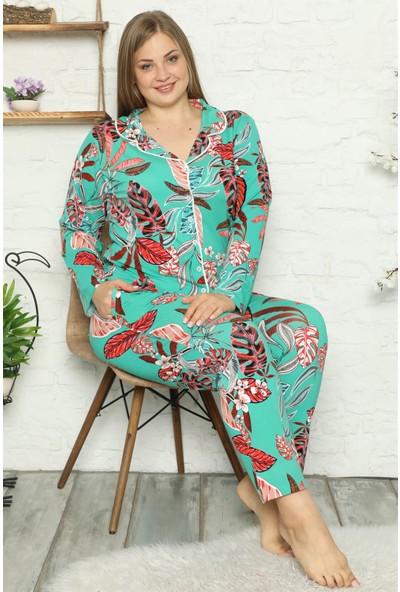 Akbeniz Kadın Pamuklu Cepli Uzun Kol Büyük Beden Pijama Takım 202049