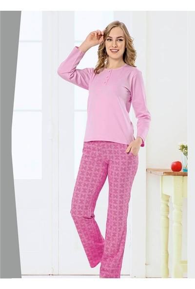 Akare 414 Pamuklu Likralı Uzun Kollu Kadın Pijama Takımı Ev Pijaması