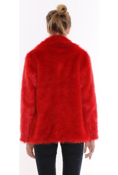 Redpoint Eco Kürk Kırmızı Celtik Yaka Ceket