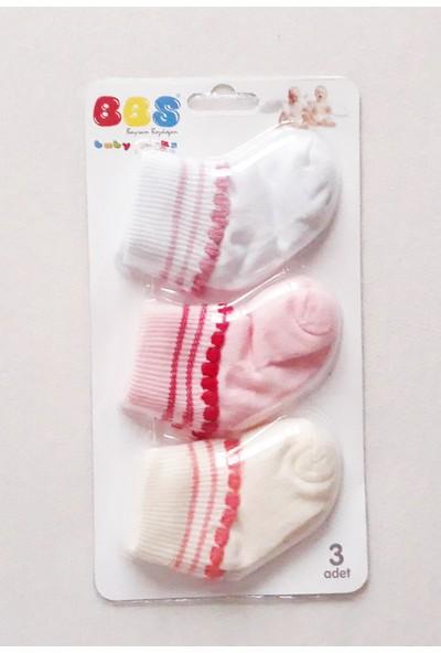 BBS Kız Bebek Çorap 3'lü Set Ponponlu
