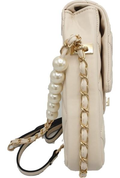 Modames Kadın Bej İncili Kapitone Mini Çanta