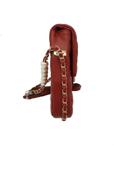 Modames Kadın Kırmızı İncili Kapitone Mini Çanta