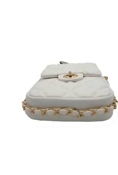 Modames Kadın Beyaz İncili Kapitone Mini Çanta