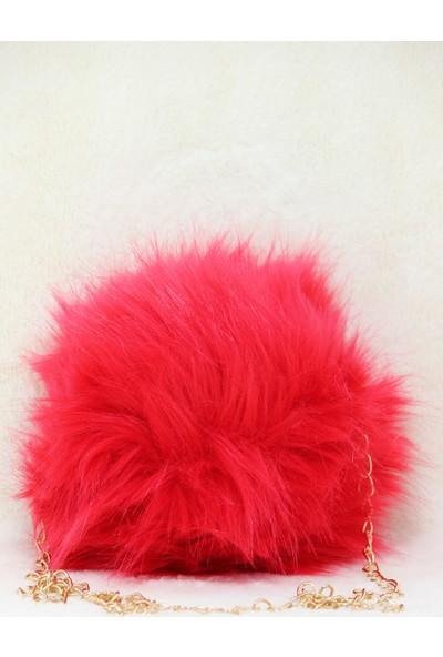 Modames Kırmızı Peluş Kadın Omuz Çantası
