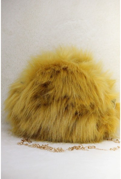 Modames Sarı Peluş Kadın Omuz Çantası