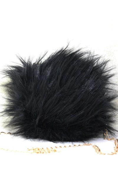Modames Siyah Peluş Kadın Omuz Çantası