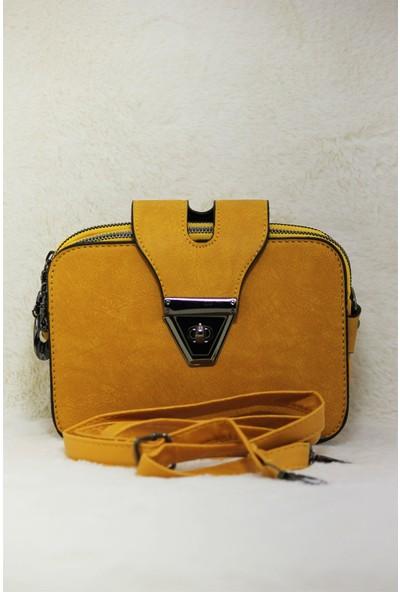 Modames Sarı Yağlı Deri Kadın Omuz Çantası