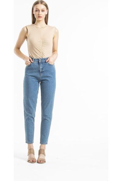 Faf Yüksek Bel Jeans Basic Mom Mavi Kot Yeşil Tint 2207