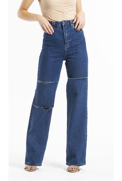 Faf Yüksek Bel Jeans Lazer Yırtıklı Koyu Mavi Geniş Paça 2213